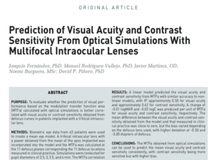 Clinica Qvision Academy Prediction of Visual Acuity and Contrast Sensitivity From Optical Simulations With Multifocal Intraocular Lenses