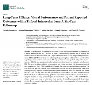Clinica Qvision Academy Long Term Efficacy Visual Performance and Patient Reported Outcomes with a Trifocal Intraocular Lens A Six Year Follow up