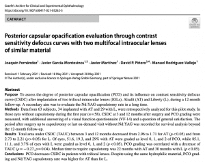 Clinica Qvision Academy Posterior capsular opacification evaluation through contrast sensitivity defocus curves with two multifocal intraocular lenses of similar material
