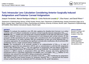 Clinica Qvision Academy Toric Intraocular Lens Calculation Considering Anterior Surgically Induced Astigmatism and Posterior Corneal Astigmatism