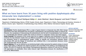 Clinica Qvision Academy What we have learnt from 30 years living with positive dysphotopsia after intraocular lens implantation a review